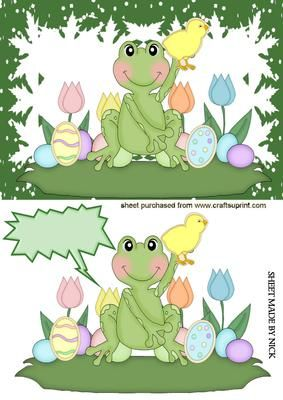 LITTLE FROG WITH CHICK EASTER EGGS on Craftsuprint - Add To Basket!