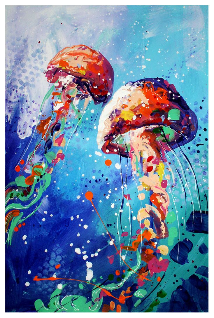 Jellyfish By Toomuchcolor Acrylic And White Gel Pen On