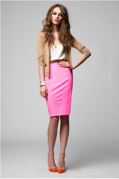 pink pencil skirt done right.  It's not too loud.
