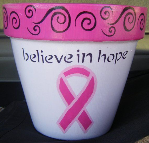 6 Inch Breast Cancer Flower Pot by Tlerch1 on Etsy