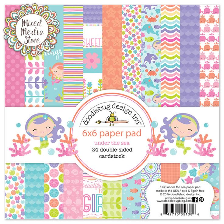 Doodlebug Under The Sea Paper Pad for mixed media art, art tags, scrapbooking and card making - Get yours at https://mixedmediastore.com.au :)