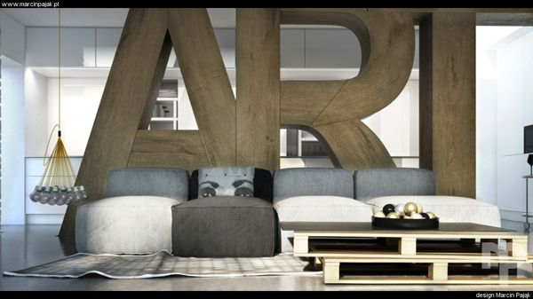3d visualization / interior design by Marcin Pająk, via Behance