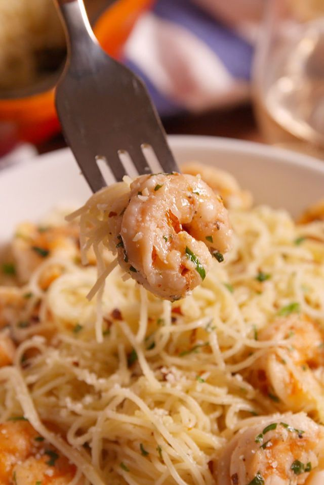 Garlic Butter Shrimp Pasta. Ready in under 30 minutes! | Ingredients: shrimp, butter, minced  garlic, dry white wine, lemon juice, crushed red pepper flakes (optional), grated Parmesan cheese, parsley, salt and pepper. Serve with angel hair pasta or linguine.