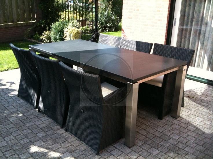 RVS tafel met zwevend tafelblad