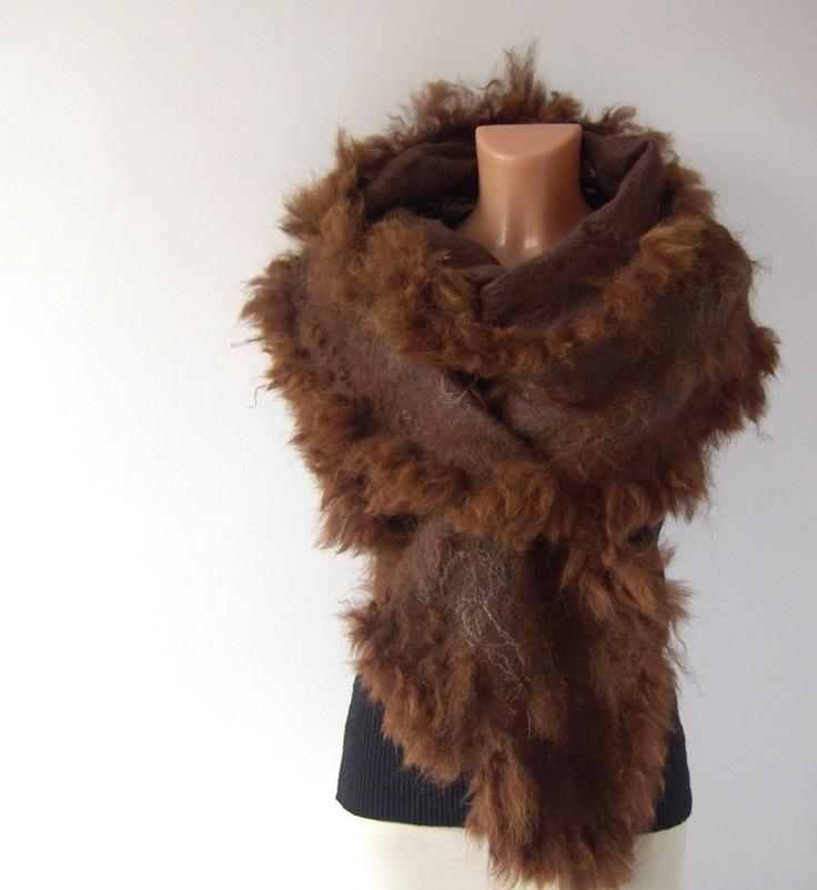 Felted scarf alpaca fur  brown wrap. #raw #wool #alpaca #felted #scarf #felting