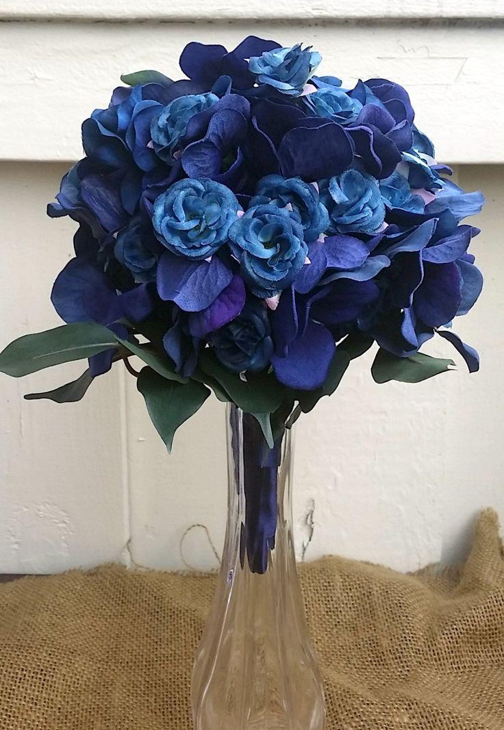 Wedding bouquet, silk flower bouquet, bridal bouquet, Navy bouquet, Navy Silk Flowers, Ready to ship by TheFlowerGirlAtlanta on Etsy