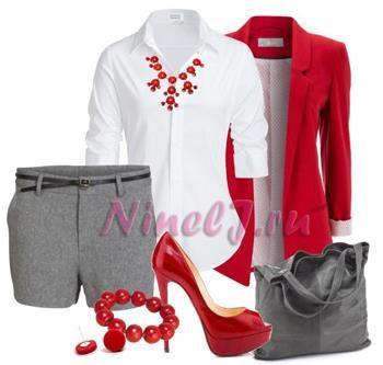 Стиль рыжий ремень серая юбка