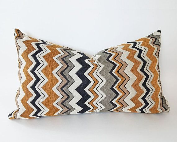 chevron lumbar pillow covers cream black gold by