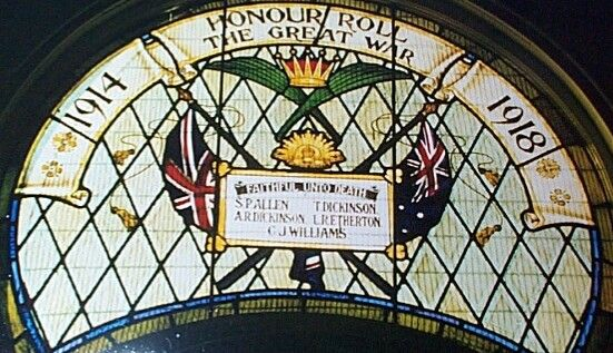 Broughton Methodist Church Stained Glass Window. The window commemorates service personnel in the First World War. Its last known location is Broughton Methodist Church.