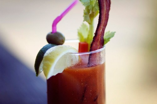 Bloody Mary with a BACON swizzle stick.: Drinky Drinks, Food, Eating And Drinks, Homemade Bloody, Bacon Swizzle, Bloody Mary, Crispy Bacon, Bloody Delicious, Bacon Vodka