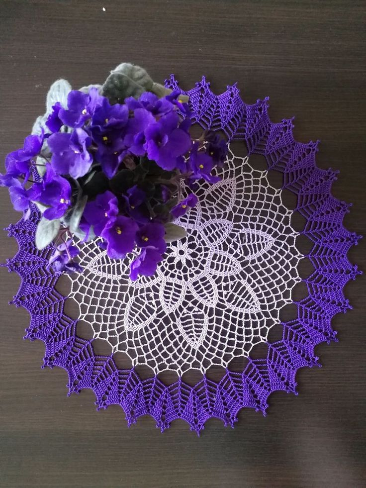Violet - Handmade Lace Crochet Doily/Centerpiece/Tablecloth/Wall Decor (Purple) | Crafts, Handcrafted & Finished Pieces, Home Décor & Accents | eBay!