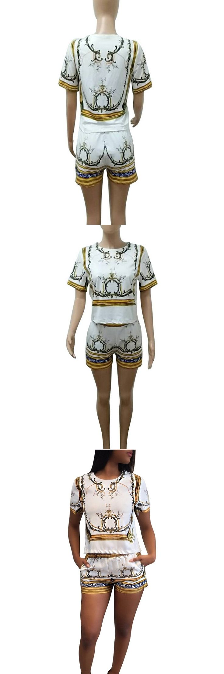 Short Sleeve Tee And Shorts Sets Two Piece Set Women Floral Print Playsuits Casual Outfits Bodysuits 2017 Fall Mono Mujer
