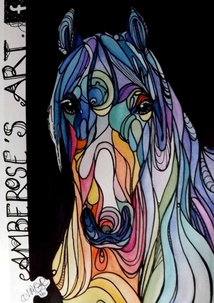 A stained glass mare in rainbow colours by UK artist Amber Rose O'Sullivan - www.amberroseosullivan.co.uk