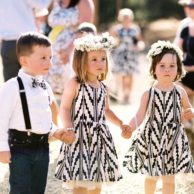 Adorable Print Flower Children Outfits // Braedon Photography // http://www.theknot.com/weddings/album/a-chic-outdoor-wedding-in-santa-ynez-ca-139153