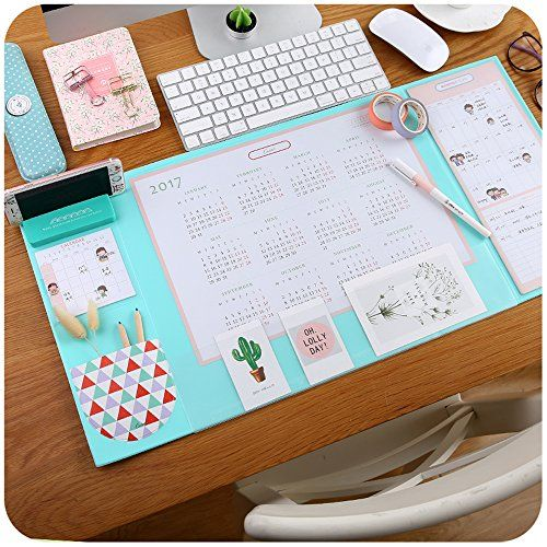 """Mirstan Large Size Mouse Pad Anti-slip Desk Mouse Mat Waterproof Desk Protector Mat with Phone Stand, Note Pad, Pockets, Dividing Rule, Calendar and Pen Holder(Various Colors) (Blue) - Extra Large Multifunction Desktop Mats 65 * 32cm Office desk Mats Mouse Pads with Phone StandNew version not simply only a desk mat, it including:- New version large 2018/2019 calendar in the middle of deskpad- Monthly schedule cards on the right of mat- Detachable foam phone stand- Small cute """"U..."""