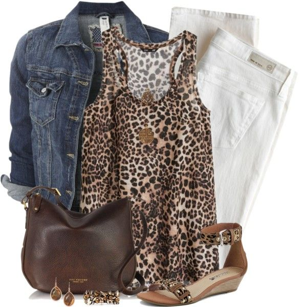 """""""White Pants and Denim Jacket"""" by daiscat on Polyvore Kind of late summer heading to fall sort of outfit or spring"""
