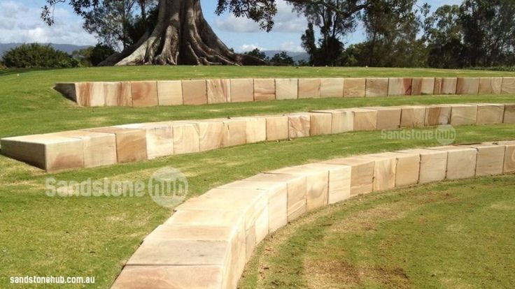 Sandstone Block Tiered Retaining Wall Completed With Diamond Sawn Blocks