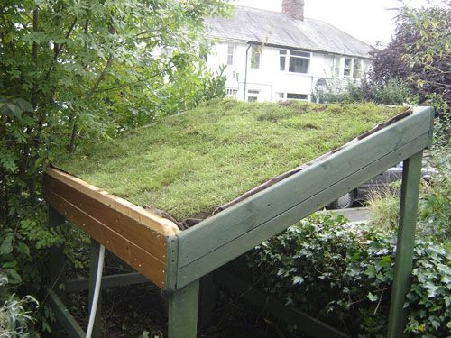 living roof bike shed... or shelter, which is even better