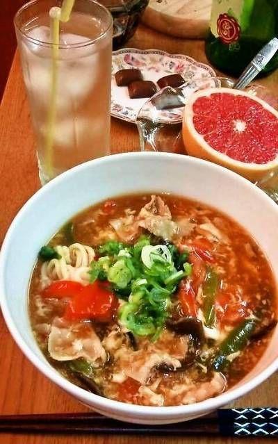 """サンラータン麺 """"酸辣湯麺"""" ~ 酸っぱくて辛いスープ☆ by mayumiたん ..."""