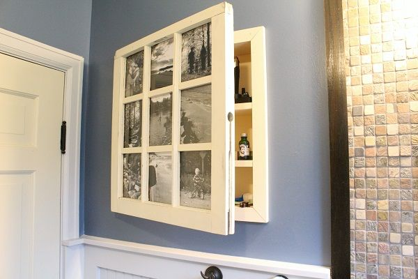 Turn an old window into extra bathroom storage space with this great tutorial from www.TheRefurbishedHome.com