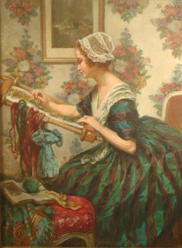 """Large Print of seated woman at needlework. Marked upper right """"S. Hurel"""""""