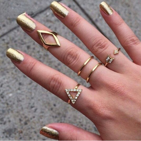 18K gold Plating Rhinestone Triangle rhombus Arrow Finger Rings Set, 5pcs/set Fashion Jewelry