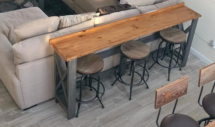 Sofa Back Bar Table Table Behind Couch Family Room Design Decor
