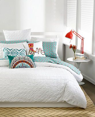 Teal and red bedroom   bar III™ Bedding, Box Pleat White Collection - Apartment Bedding - Bed & Bath - Macy's