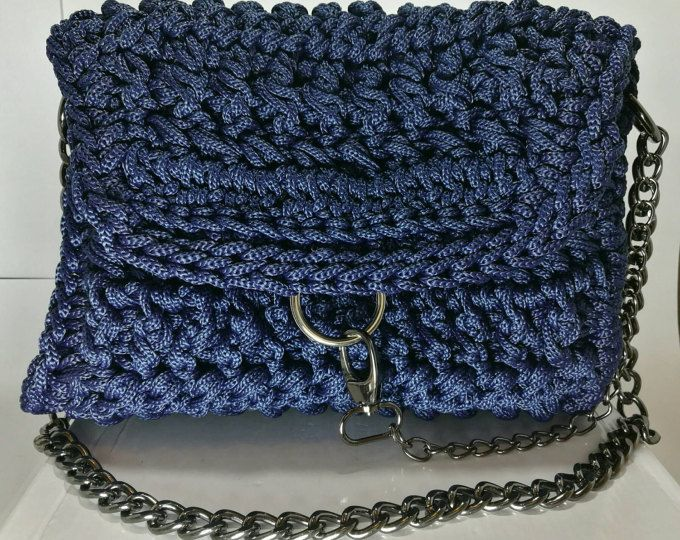 Women's Blue Handbag with Black Nickel Chain and Embellishment/ crochet