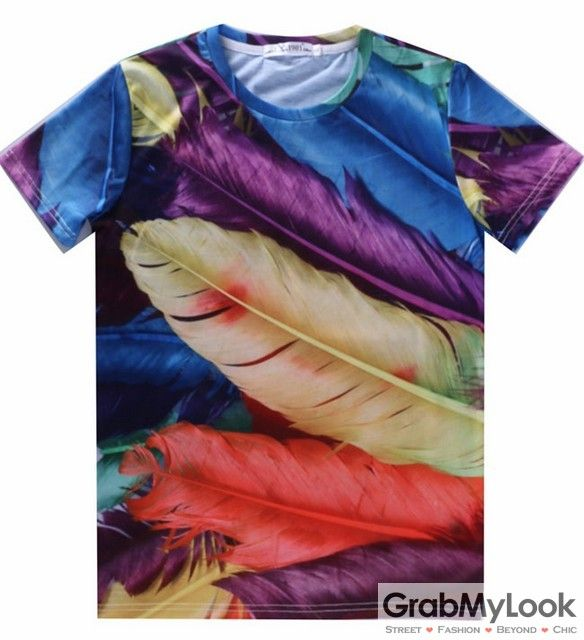GrabMyLook Colorful Rainbow Colored Feathers Mens Short Sleeves T Shirt