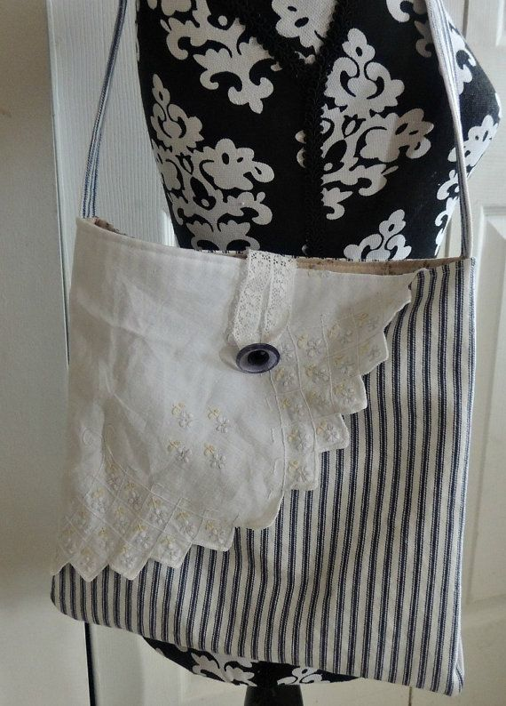 Vintage Linen and ticking purse tote