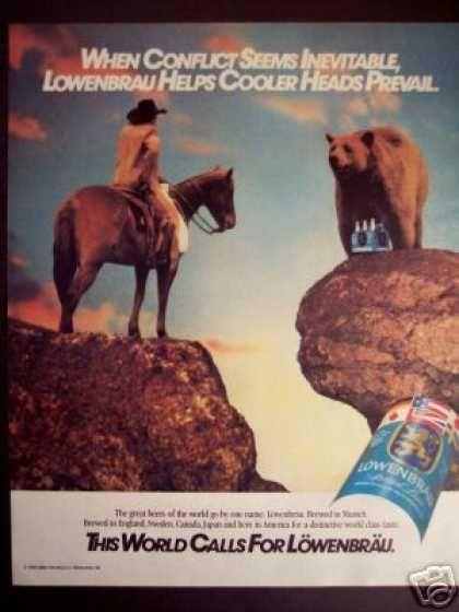 Cowboy & Grizzly Bear Art Lowenbrau Beer (1986)