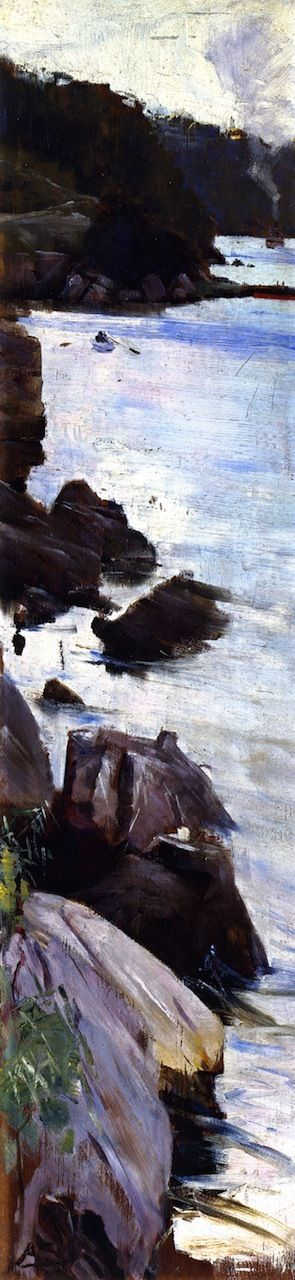 Sir Arthur Streeton. Sirius Cove Copied from the-athenaeum.org The photograph does not to the painting justice, there is a clear Japanese influence and the water shines silver.