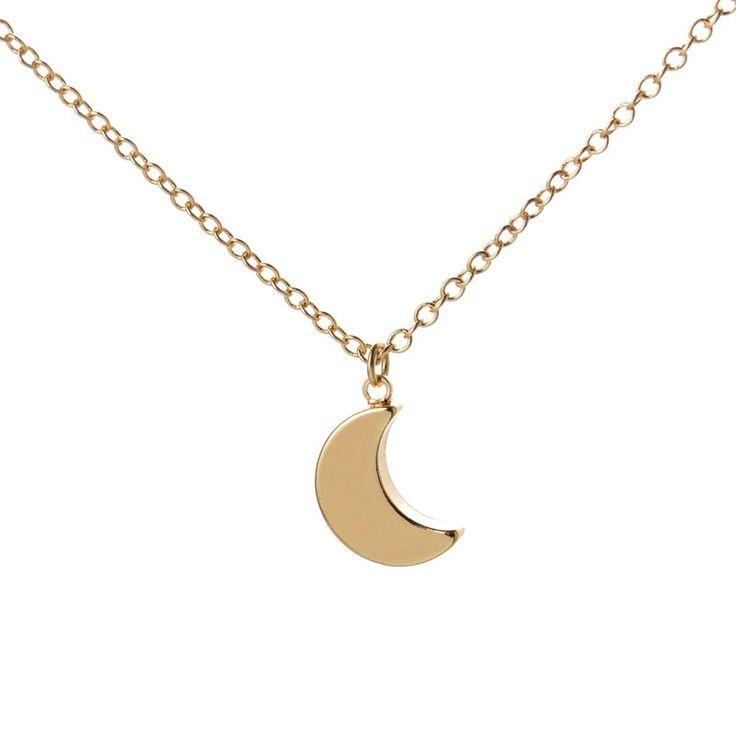 Minimalist Crescent Moon Necklace Plain Half Moon Pendant