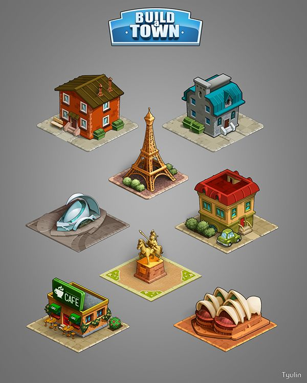 Graphics for game «Build a town» on Behance