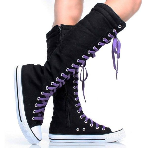 Canvas Sneakers Ladies Flat Tall Punk Womens Skate Shoes Lace up Knee... (52 BRL) ❤ liked on Polyvore featuring shoes, boots, converse, knee boots, lacing boots, knee high boots, knee high laced boots and lace up boots