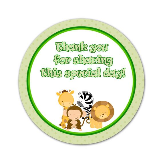 Green jungle safari party thank you tag zebra giraffe for Baby shower safari decoration