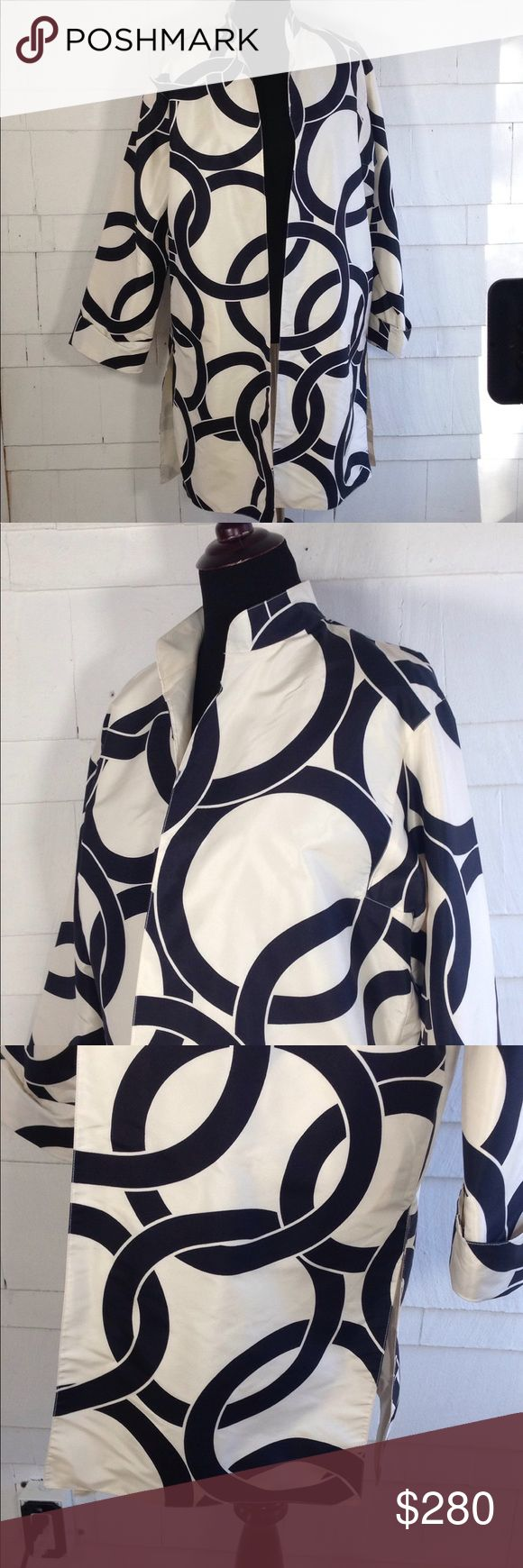 Valentino silk mod jacket 12 Gorgeous 100% silk jacket. Valentino. Authentic and made in Italy. Size 12 but could also be worn oversized on a smaller frame. Showing on a size 6 mannequin. Thin lightweight spring summer material. Excellent condition!!!! Valentino Jackets & Coats