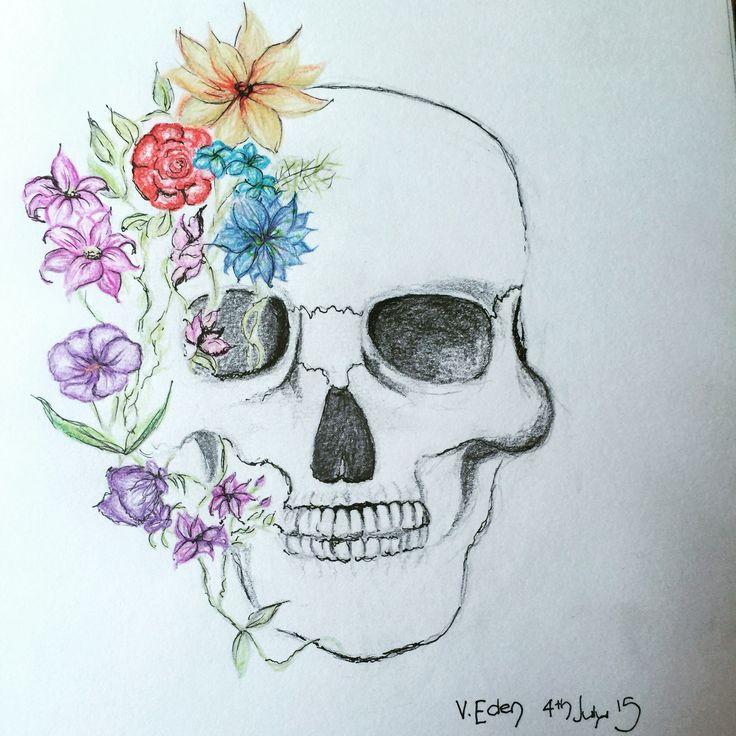 Floral skull; pencil & ink