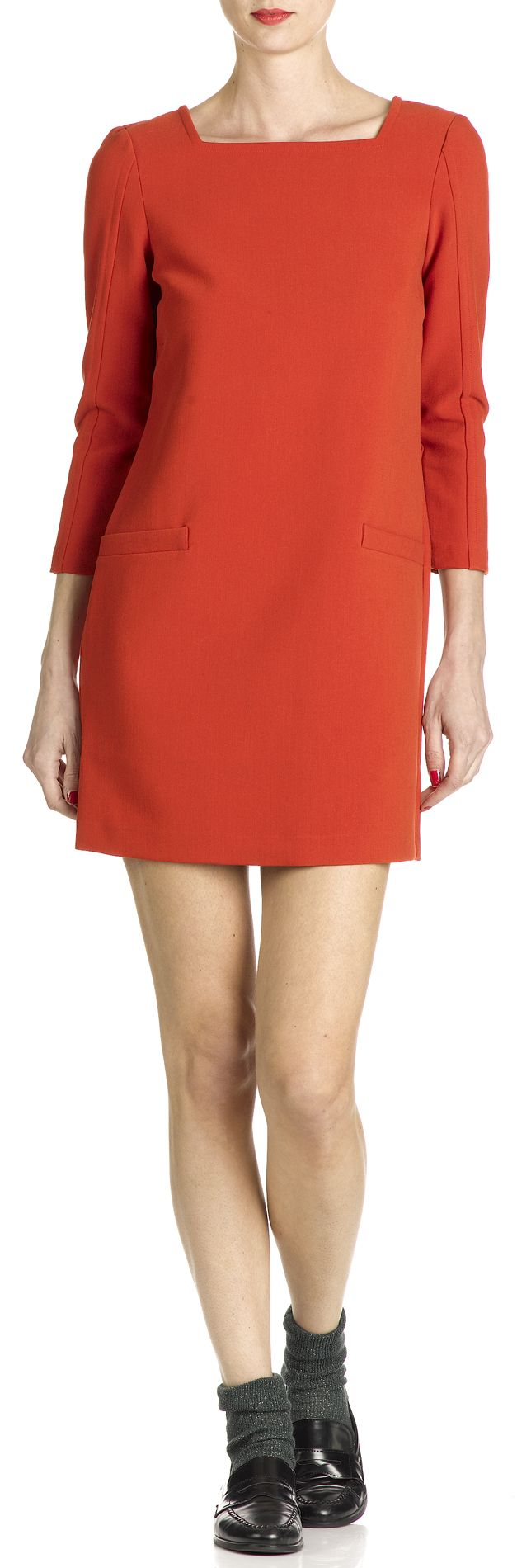 Robe droite col rectangle Orange by LA FEE MARABOUTEE