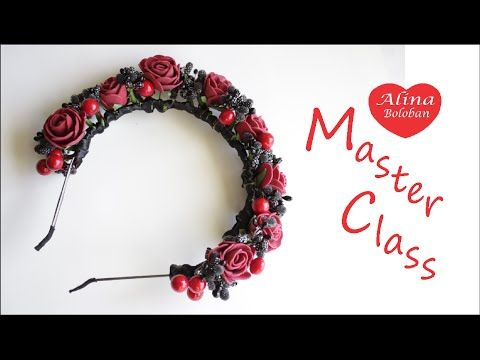 Женственный Ободок для Волос с Розами / Feminine hair band with Roses - YouTube