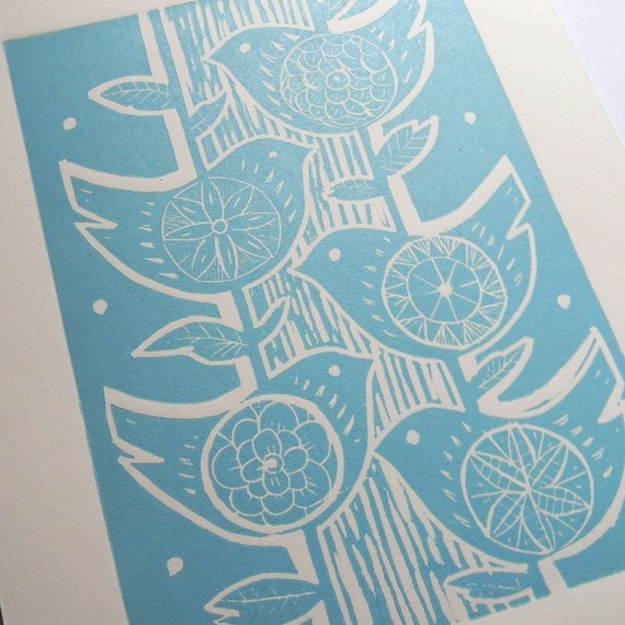 Five birds lino print, £14