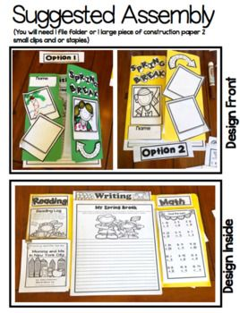 This Spring Break packet is perfect if you don't want your kids to lose momentum during Spring Break. The Spring Break Project keeps first and second graders practicing essential skills like reading, asking questions, responding to text, writing, and math addition and subtraction while having fun!   The Spring Break Project contains three options . This packet can be done as a Lap Book for a fun scrapbooking vibe, as a foldable with a piece of construction paper, or as a stand-alone print…
