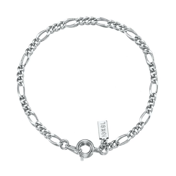 White Gold Layered Figaro Babies Bracelet with Spring Ring | Allure Gold