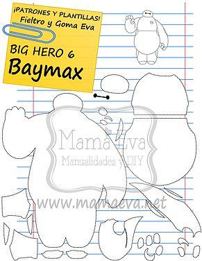 Descarga gratis nuestras plantillas para goma eva y fieltro de tus personajes de Disney favoritos: Baymax y sus amigos.