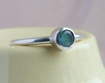 Sterling Silver Labradorite Solitaire stacking ring size R. - Edit Listing - Etsy