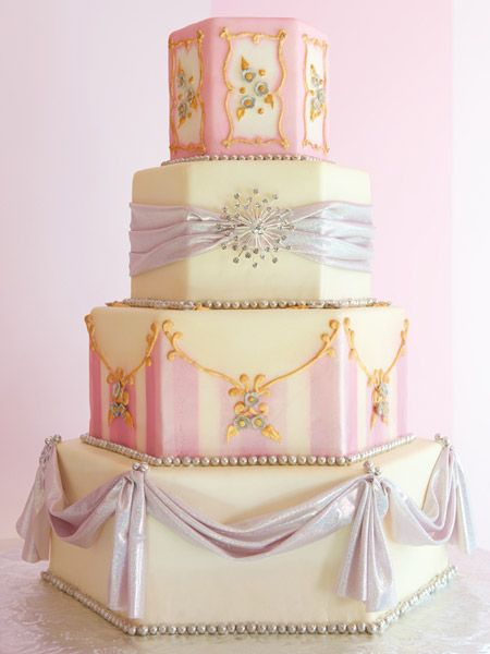 Jewelry box cake.  Love the shapes of the tiers and the pastel colours with just the right touch of gold.  ᘡղᘠ