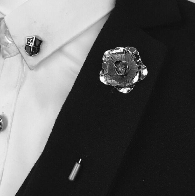 Bovvskyゴールドシルバーブラックローズフラワーブローチピン男性スーツアクセサリーラペルピン用メンズスーツウェディングパーティー長いピンブローチ