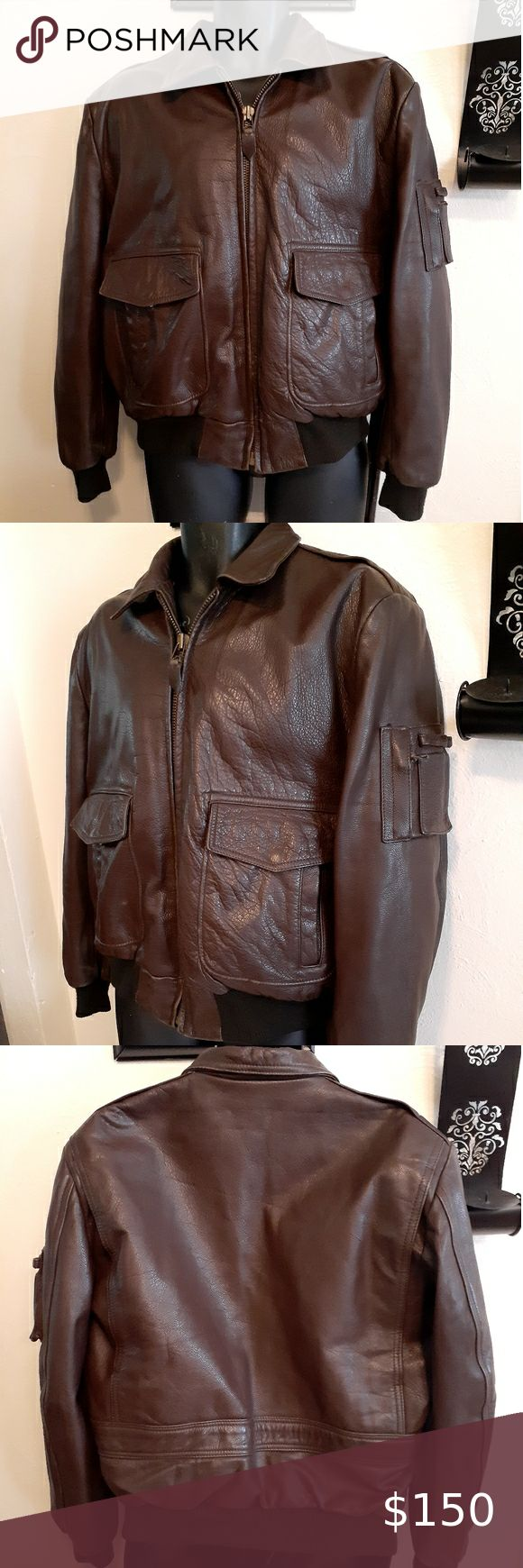 90's 100Leather Air Force Brown pilot jacket. in 2020