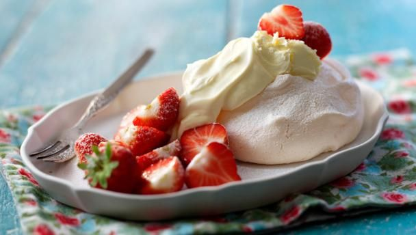 Meringues with clotted cream and strawberries |      Rick Stein shows how to make the ultimate meringue in this simple eight-step recipe.
